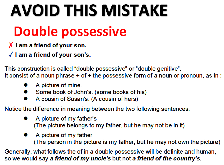 Mistakes with double possessives