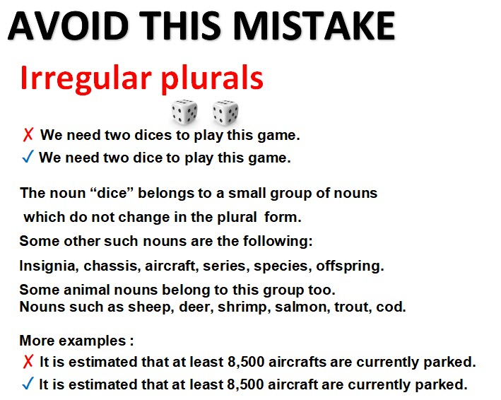 mistakes with irregular plurals