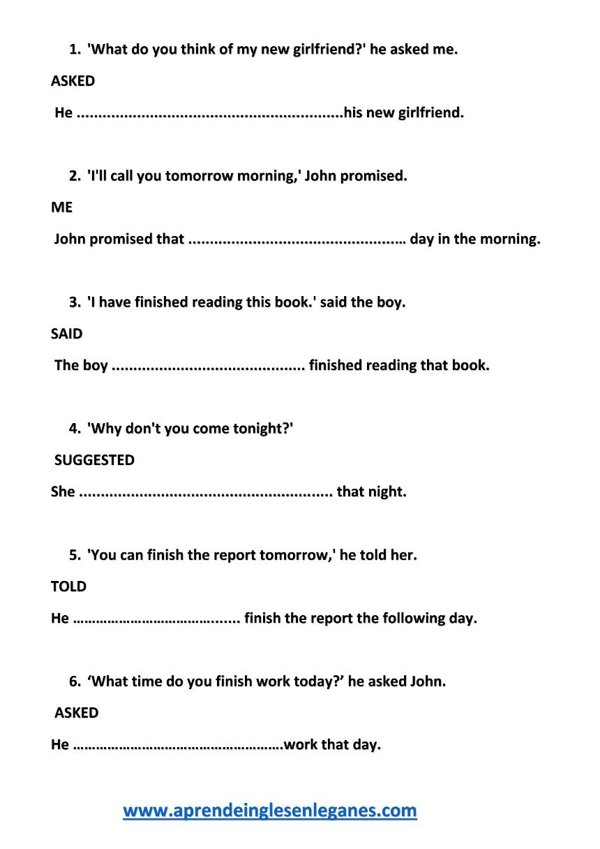 Exercises speech direct pdf with and indirect answers