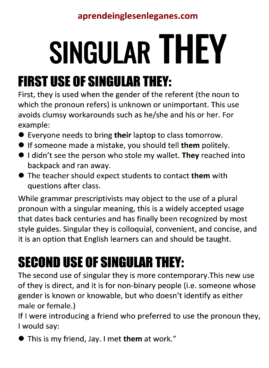 SINGULAR THEY - GENDER NEUTRAL - They used as singular