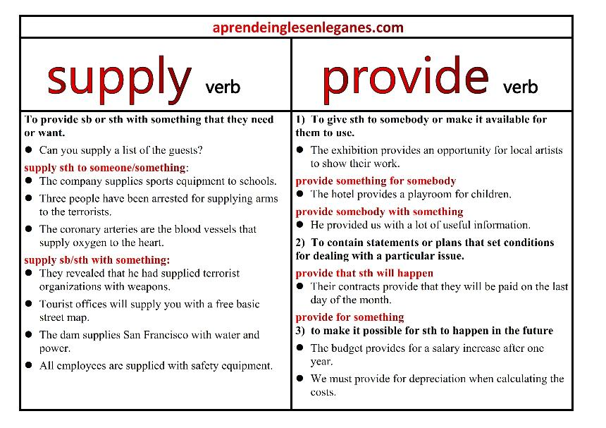 supply vs provide - B2 grammar