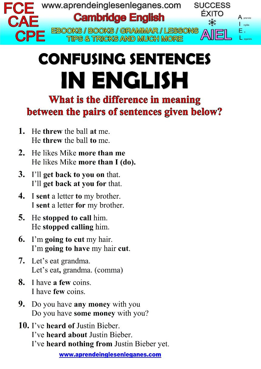 confusing sentences examples