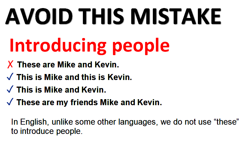 Introducing people - common mistake