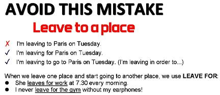 leave for a place - common mistake