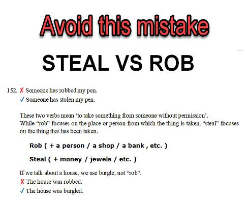 Steal vs rob - common mistakes